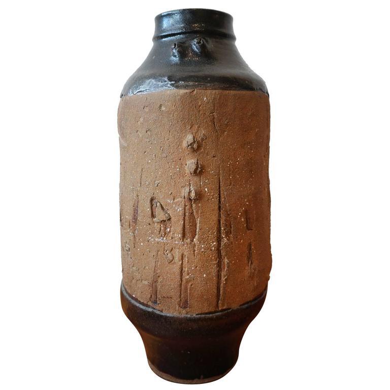 Large Brutalist Ceramic Floor Vase At 1stdibs