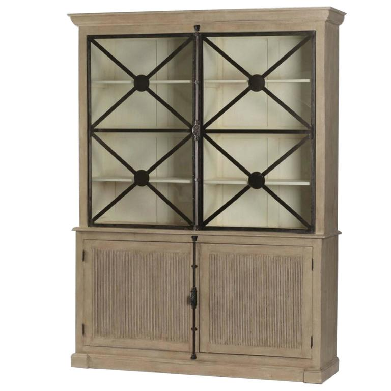 Large walden french country cabinet with glass doors at for Large glass french doors