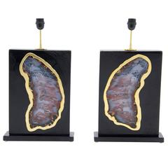 Pair of Lamps by Stan Usel Black Resin Inlay Agates