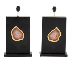 Pair of Lamps by Stan Usel Black Resin Inlay Red Stone