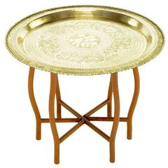 Asian Engraved Brass Charger Folding Tray Table