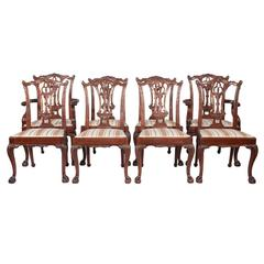 Chippendale Style Dining Chairs, S/8
