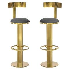 deco inspired mid century modern leather brass gilberto bar chairs 7
