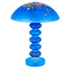 Italian Venetian, Table Lamp, blown Murano Glass, Blue, Murrine, Cenedese, 1990s