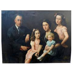 Jose Wolff, Family Portrait, Large Oil on Canvas, Dated 1947