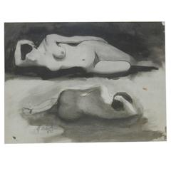 """Marcel Delmotte """"Nus Couchés,"""" Mixed Technical Signed and Dated"""