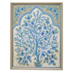 "Silk Uzbekistan Suzani Crewelwork Blue and White ""Tree of Life"" Panel with Birds"