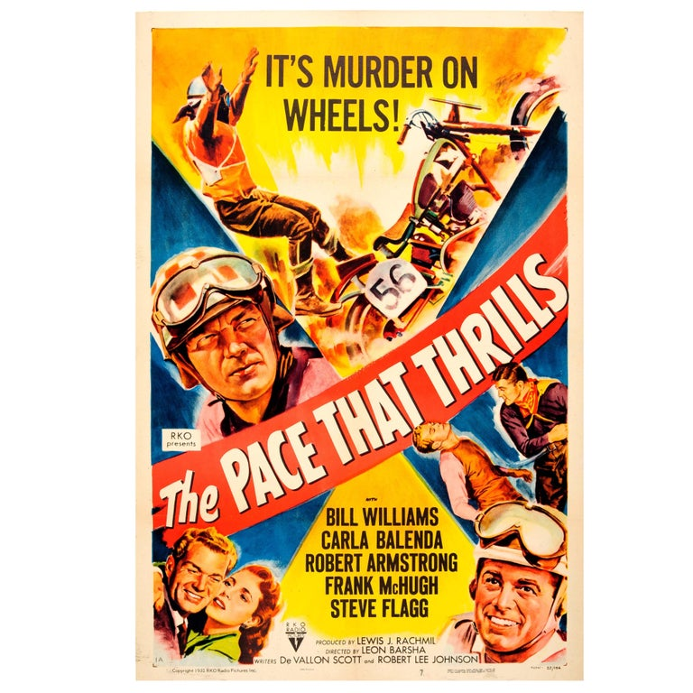 "Vintage Movie Poster for a Motorcycle Racing Film ""The Pace That Thrills"" For Sale"