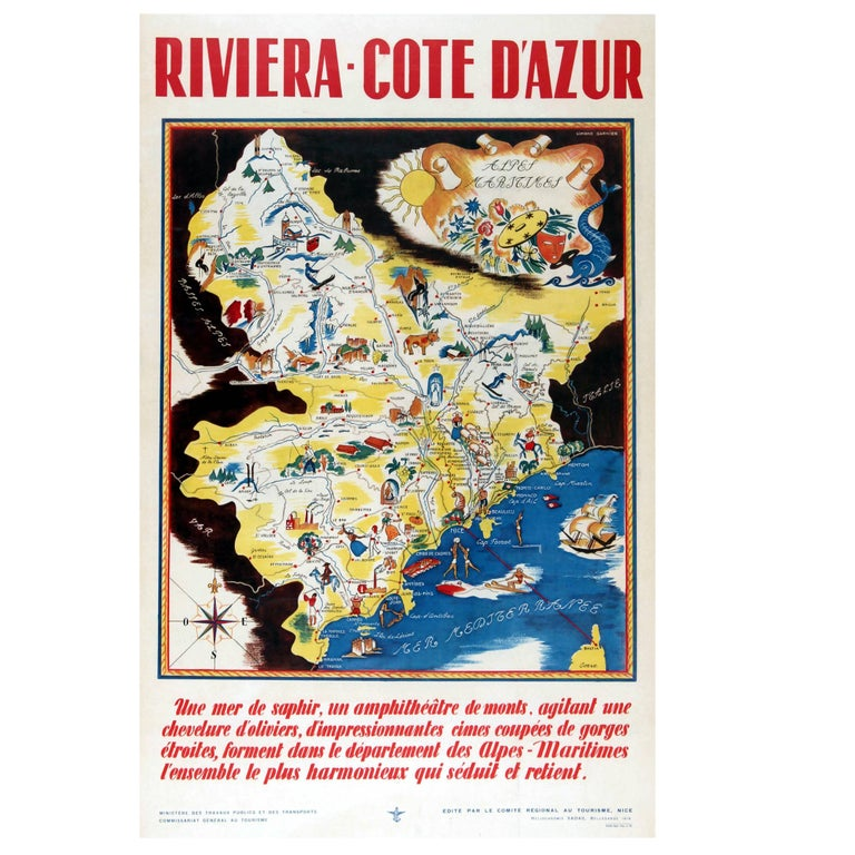 Original Vintage 1930s Travel Advertising Poster for The Riviera – Cote d'Azur For Sale