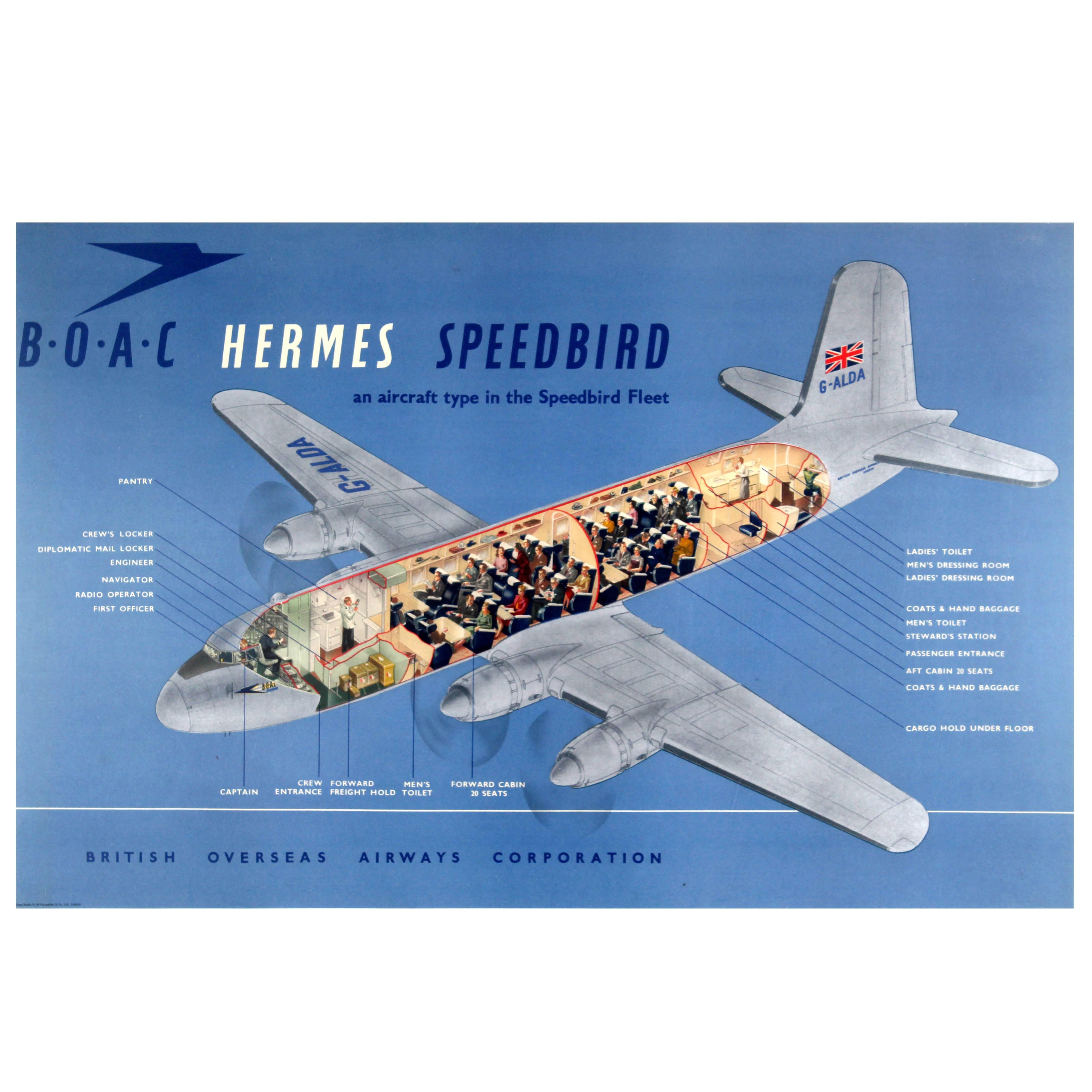 Original Vintage Travel Advertising Poster BOAC Hermes Speedbird Aircraft Fleet