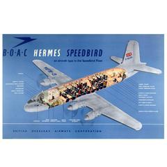 Original Vintage Travel Advertising Poster, BOAC Hermes Speedbird Aircraft Fleet