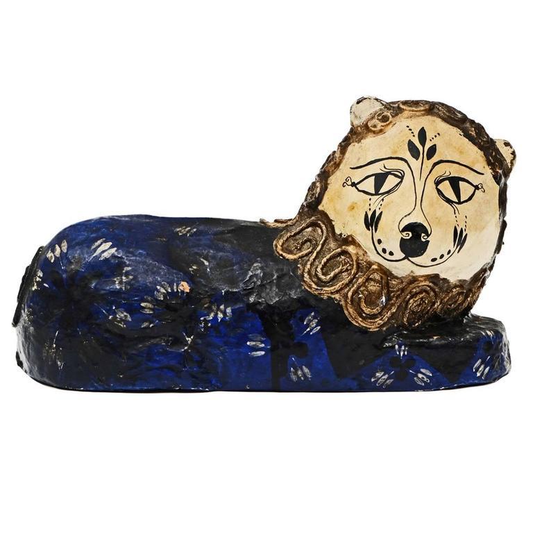 1960s Papier Mache Folk Art Lion Sculpture