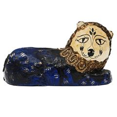 1960s Papier Mache Folk Art Lion Sculpture