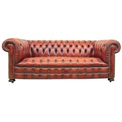 Vintage Red Leather Chesterfield