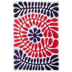 Blue and Red Australian Aboriginal Painting, Plant Pattern Design