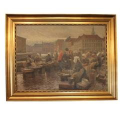 Large Painting of Fishwives in Copenhagen by Søren Christian Bjulf, 1910-1920