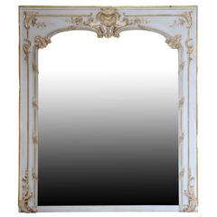 Louis XV Style Gilded Wood and White Rechampi Mirror, 19th Century