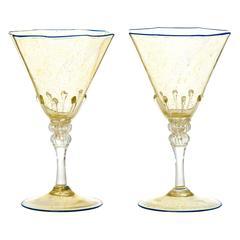 12 Art Deco Venetian Water Goblets