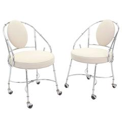 Pair of Faux Bamboo Chrome Fireside Lounge Side Chairs