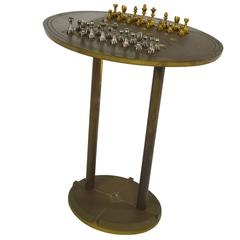 Peter Ghyczy Brass Chess Table, 1960s-1970s