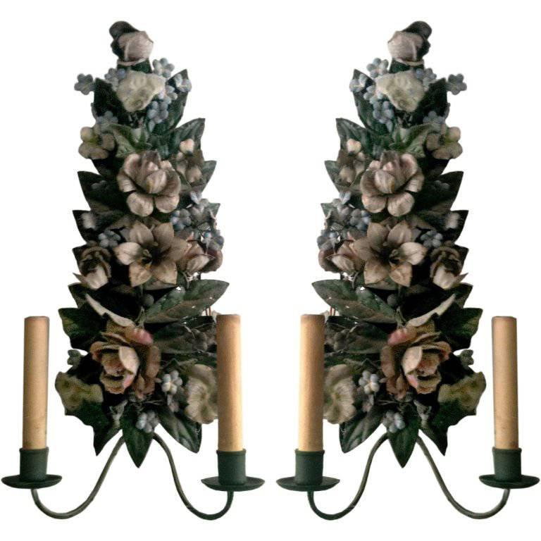 One Pair of French Tole Two-Light Wall Sconces For Sale