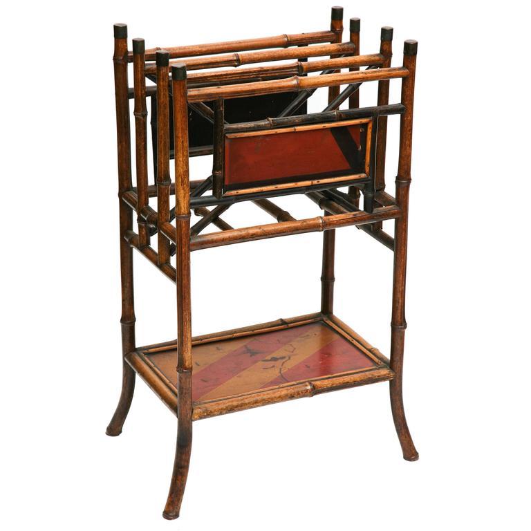 Superb 19th Century Chinoiserie Tall  English Bamboo Magazine Stand