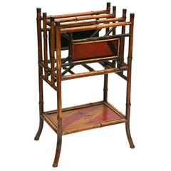 Superb 19th Century Chinoiserie Tall  English Bamboo Magazine Stand