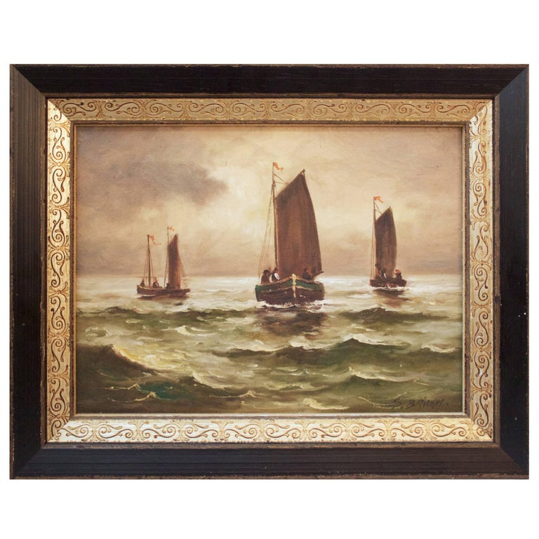 """19th Century Dutch Oil Painting """"Boats at Sea"""" by S. Bricker For Sale"""