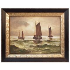 "19th Century Dutch Oil Painting ""Boats at Sea"" by S. Bricker"