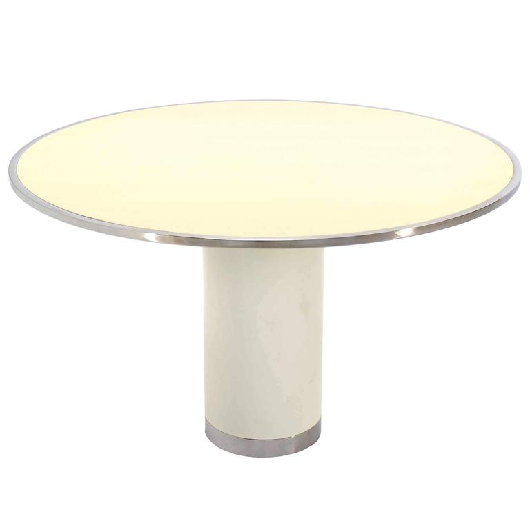 Heavy Enameled Metal Cylinder Pedestal Base  Top Round Gueridon Dining Table