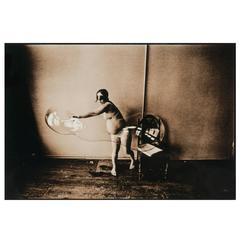 Leslie Krims Photograph Masked Pregnant Nude with Soap Bubble, 1969