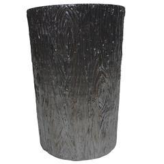Bright Silver Plaster Tree Stump Stand