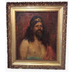 Portrait of a Tribal Chief or a King, Oil on Canvas Signed Marius Mangier, Franc