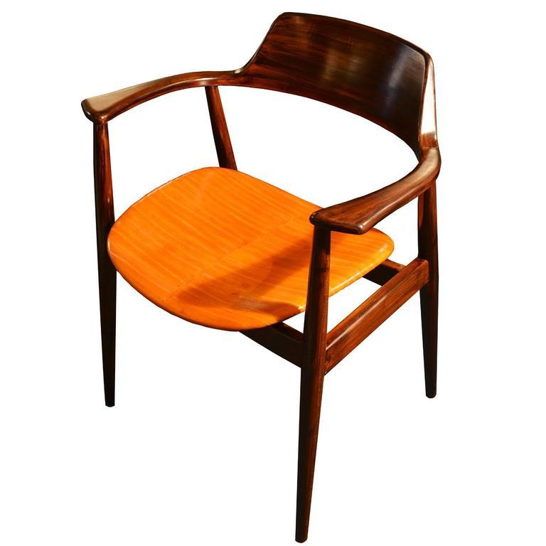 Vintage Danish Desk Chair In Teak And Eel Skin Of The
