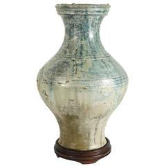 Large Han Iridescent Green Glazed Pottery Vase