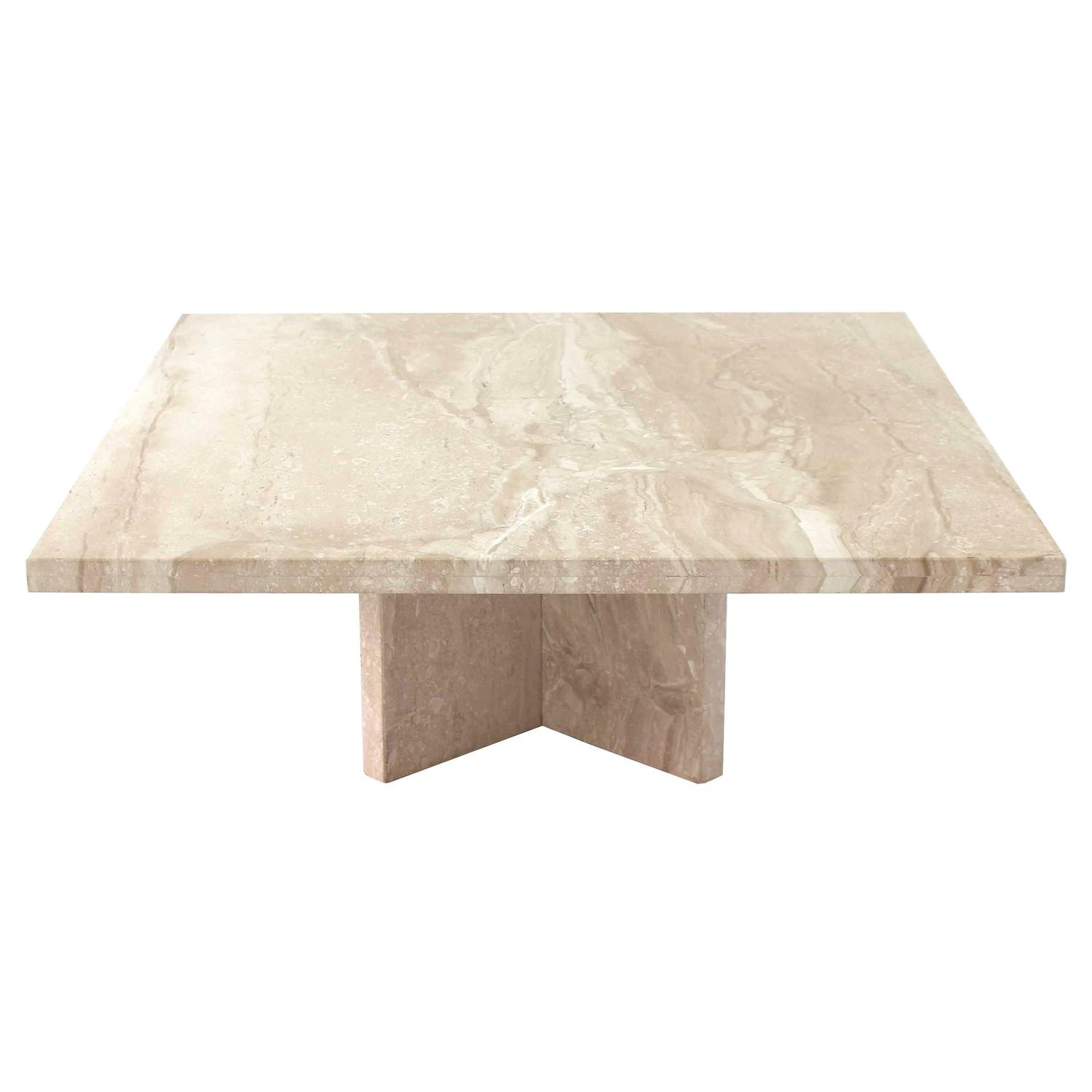 Large square travertine coffee table for sale at 1stdibs Large square coffee table