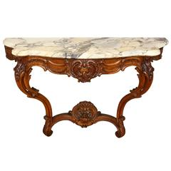 A Louis XV Carved Oak Provincial Wall Console