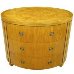 Charles Pfister for Baker Prima Vera Mahogany Three-Drawer Oval Commode
