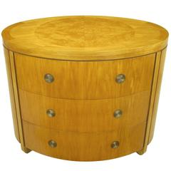 Charles Pfister for Baker Prima Vera Mahogany Three-Drawer Oval Commode