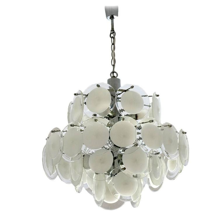 Large Four-Tiered Murano Glass Disc Chandelier by Vistosi, Italy 1960s