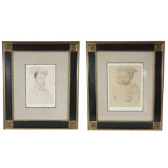 Collection of Six French Late 19th Century Collotypes Printed on Chine Colle'