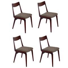 "Set of Four Danish Modern ""Boomerang"" Dining Chairs by Erik Christensen"