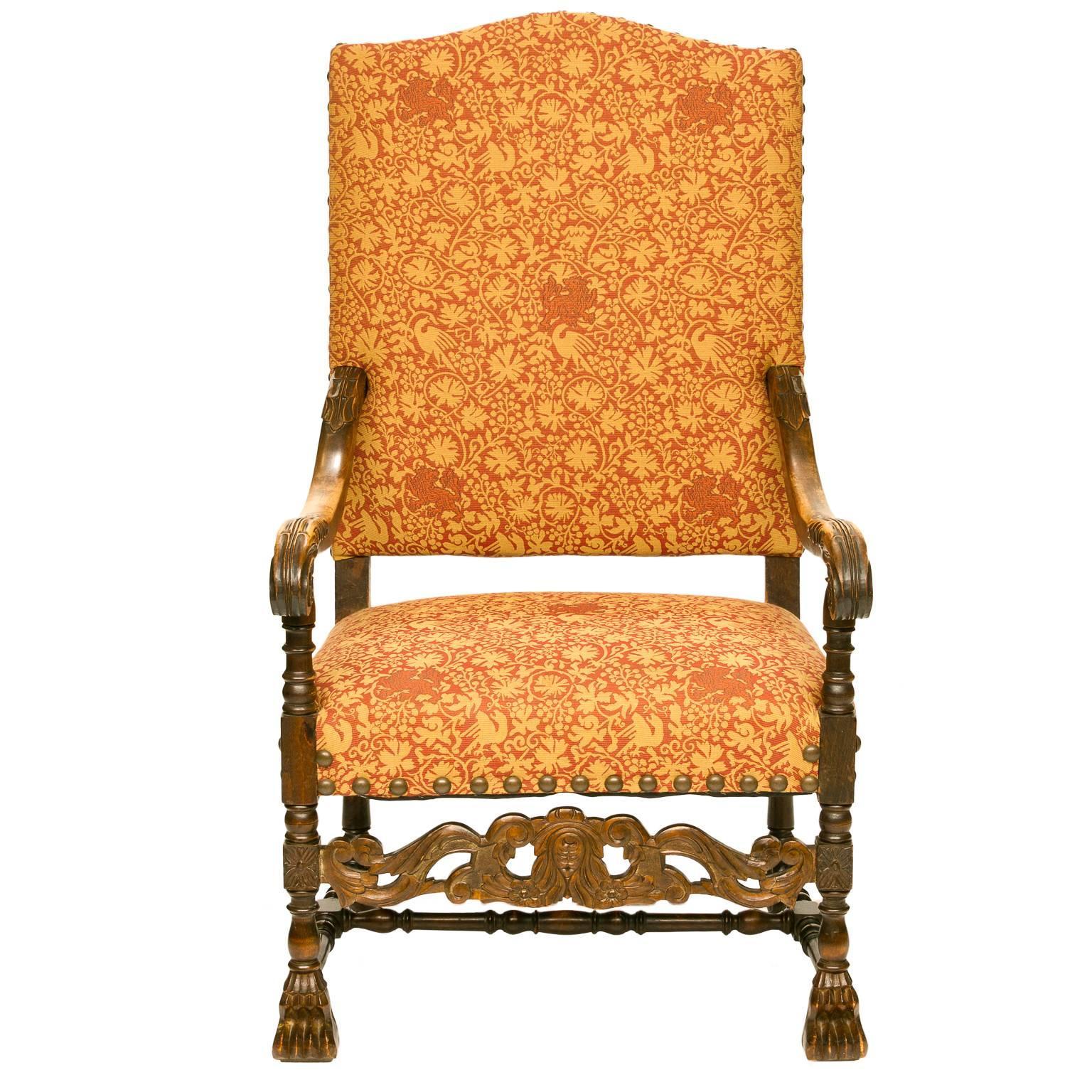 19th Century Louis XIII Style Walnut Armchair