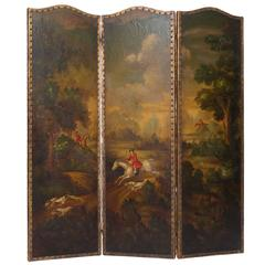 19th Century Painted Leather Screen