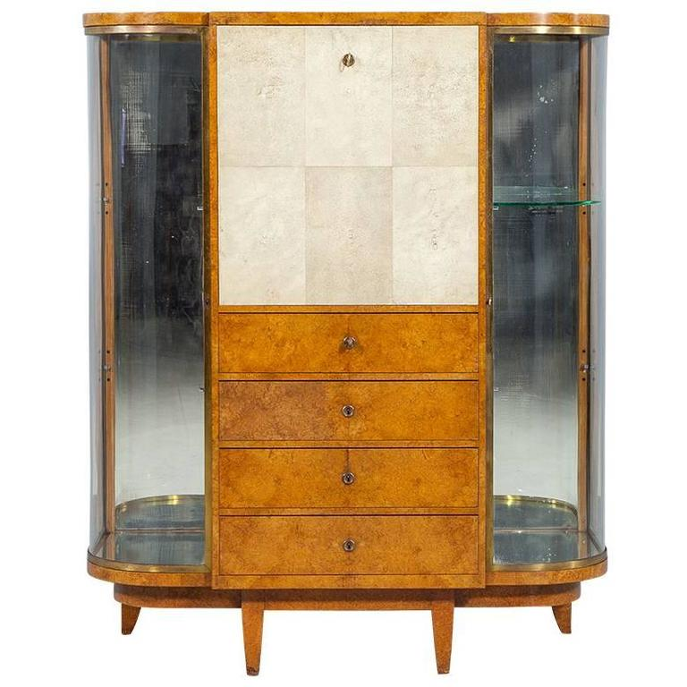 Art Deco Burl Sandalwood Wood and Shagreen Secretaire Cabinet by Jules Deroubaix