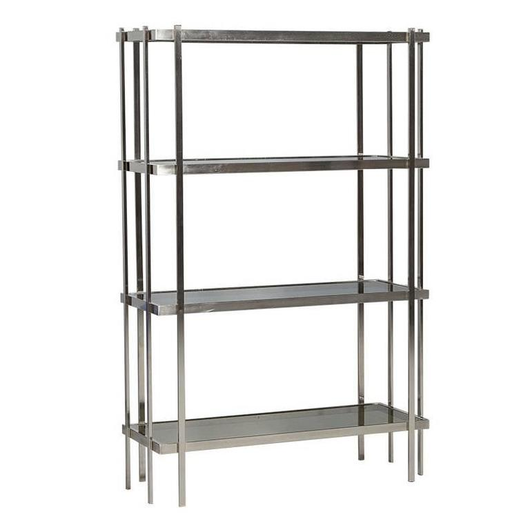 midcentury modern brushed nickel tagre with smoked glass shelves 1