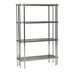Mid-Century Modern Brushed Nickel Étagère with Smoked Glass Shelves
