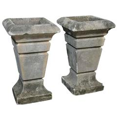 Pair of French Art Deco Carved Stone Jardinières