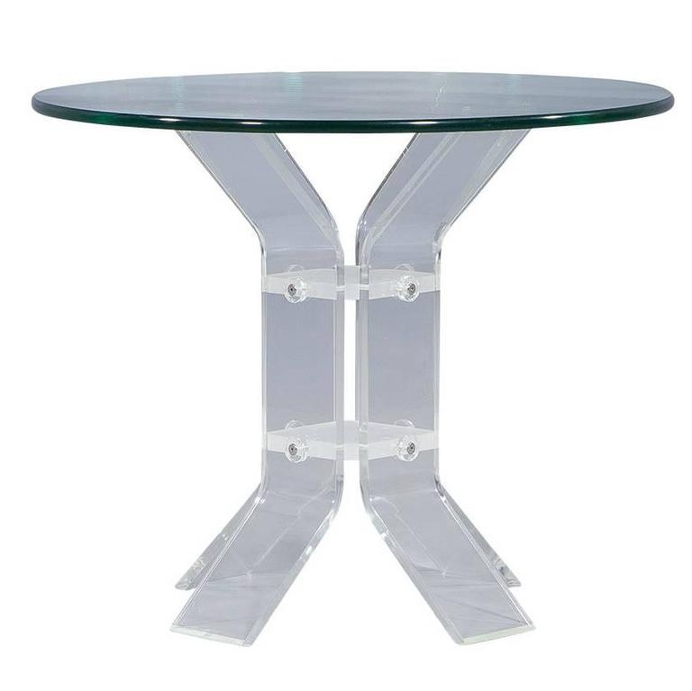 Round Lucite and Glass Occasional Table