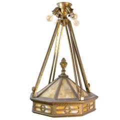 Large Cast Brass Mission Chandelier